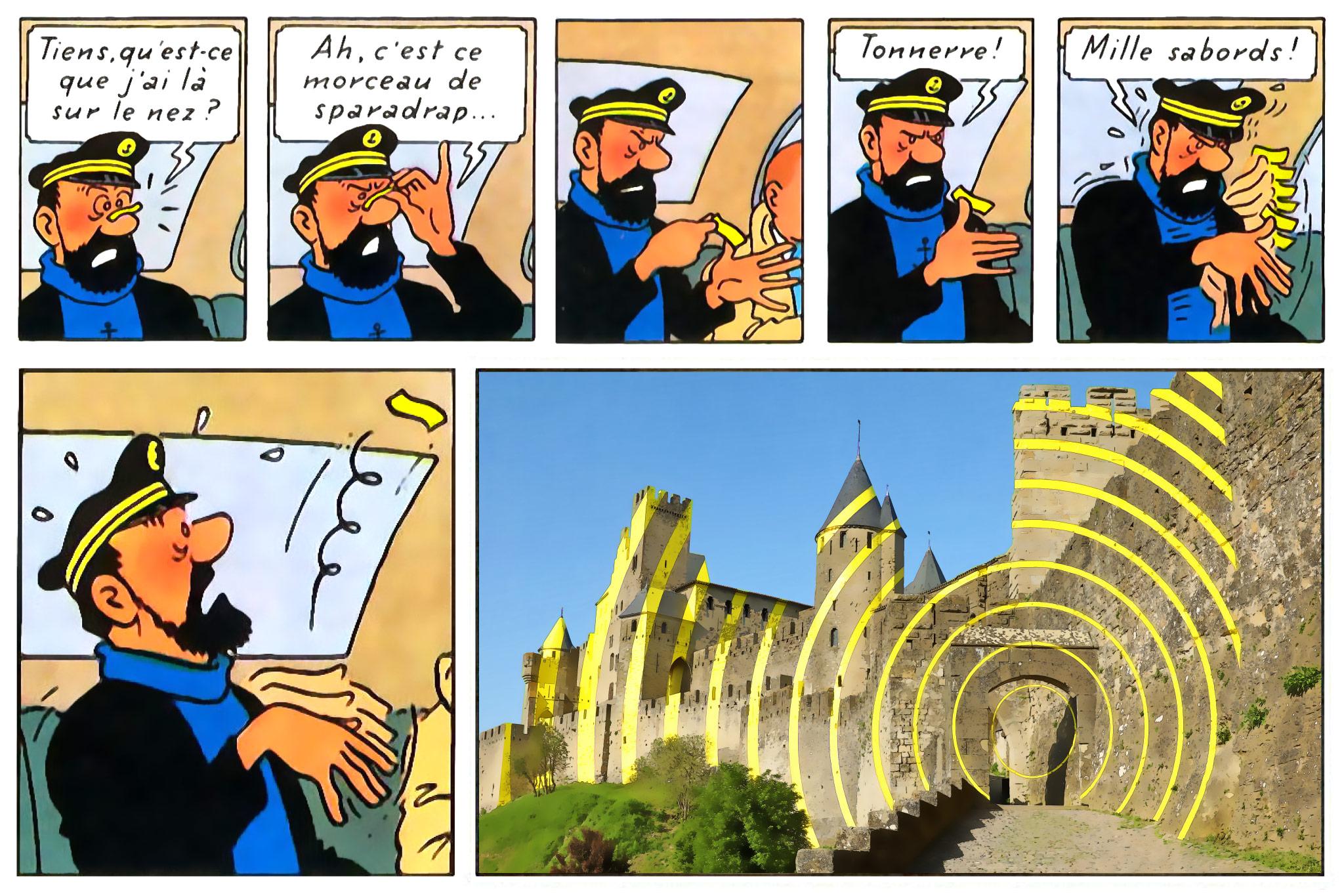 Montage photo associant le capitaine haddock avec la Cité de Carcassonne