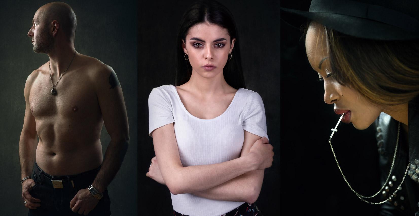 Série de trois portraits photos thématiques, un homme tors nu et deux femmes, réalisés en studio à Carcassonne puis traités en compositing avec Photoshop
