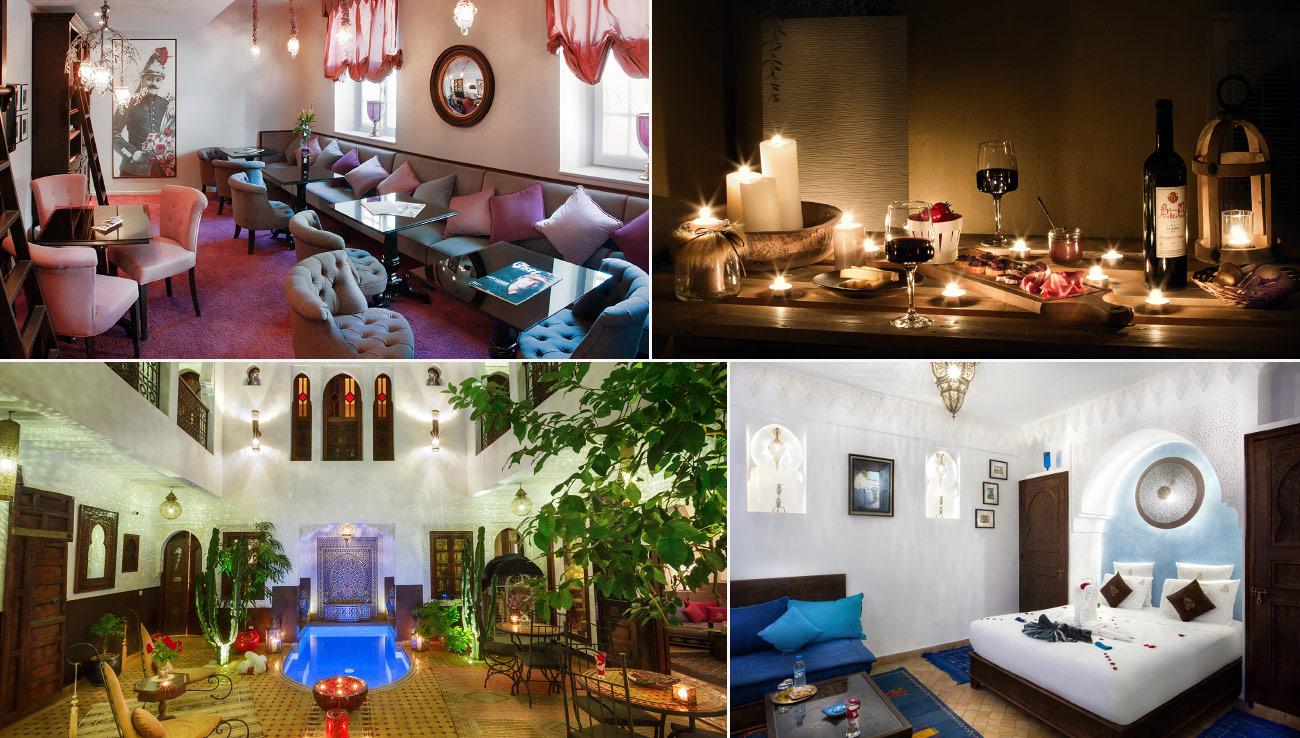 Assemblage de quatre photos montrant un patio de Riad de nuit, une chambre de Riad, un salon d'accueil d'hôtel et un apéritif servi de nuit sur une table en bois