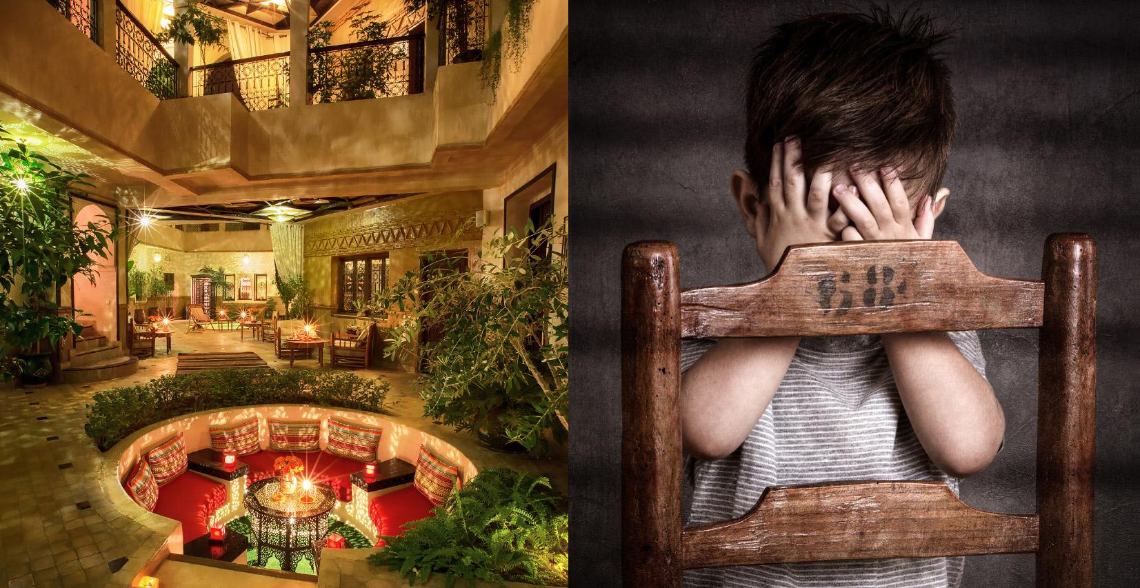 image duo, avec un riad photograhié de nuit à marrakech d'un côté de l'image et de l'autre le portrait d'un enfant qui se masque les yeux